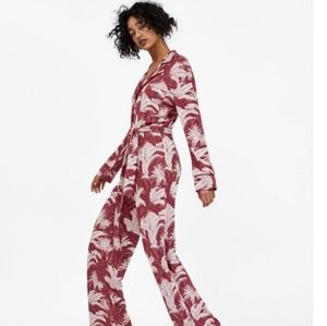 Zara Red Floral Knit Jacquard Straight Jumpsuit S